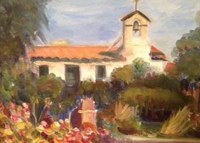 San Juan Capistrano Greeting Card featuring the painting Mission San Juan Capistrano California by Betsy Mallegg