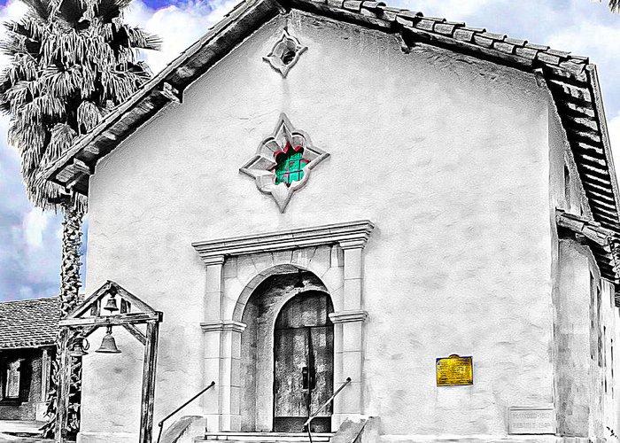 Mission San Rafael Greeting Card featuring the digital art Mission San Rafael Arcangel by Ken Evans
