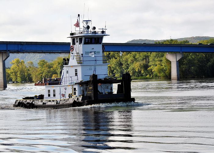 Tug; Mississippi River; Bridge; Water; Shoreline. Greeting Card featuring the photograph Mississippi Muscle by Larry Jones