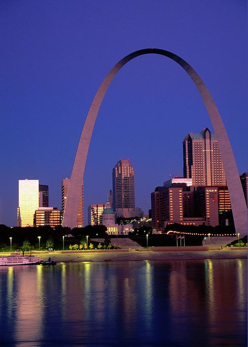 Arch Greeting Card featuring the photograph Mississippi River And Gateway Arch At by John Elk