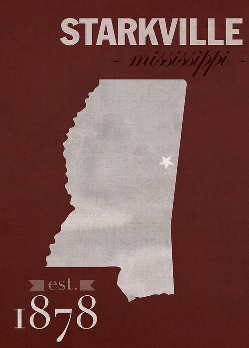 Mississippi State University Bulldogs Starkville College Town - Us college map poster