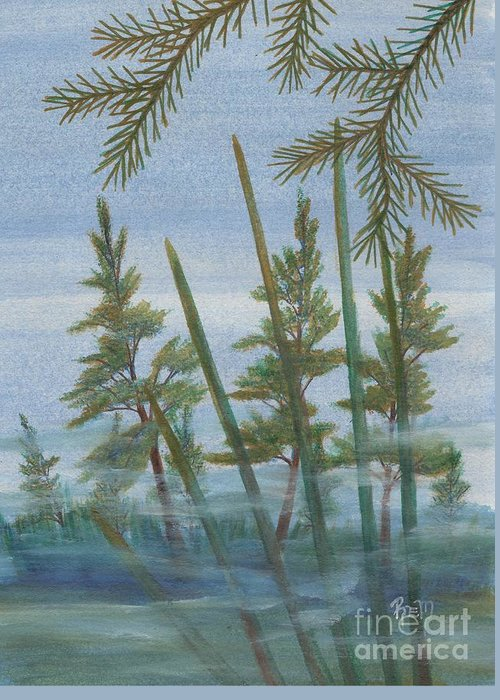 Landscape Greeting Card featuring the painting Mist In The Marsh by Robert Meszaros