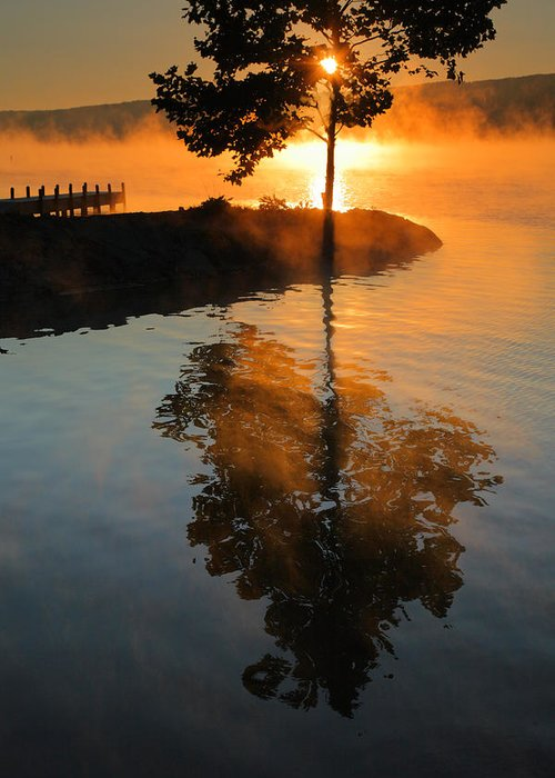 Dawn Greeting Card featuring the photograph Mist On Fire by Steven Ainsworth
