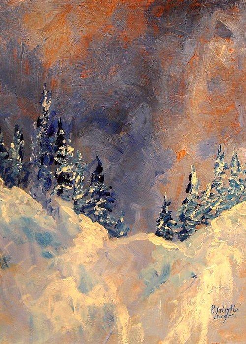 Winter Greeting Card featuring the painting Mist On The Snow Peak by Patricia Brintle