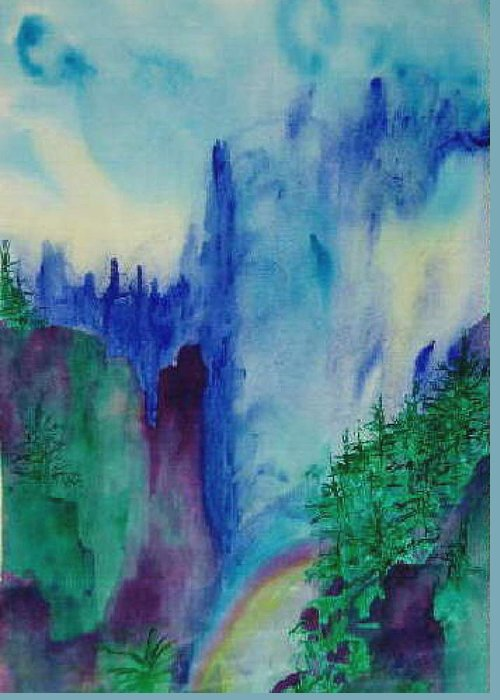 Impressionistic Greeting Card featuring the painting Mist by Phoenix Simpson