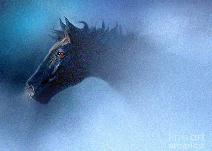 Horse Greeting Card featuring the painting Mist Runner by Robert Foster
