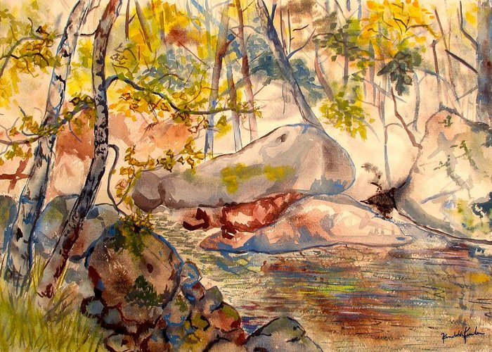Creek Greeting Card featuring the painting Misty Cascades Day by Kendall Kessler