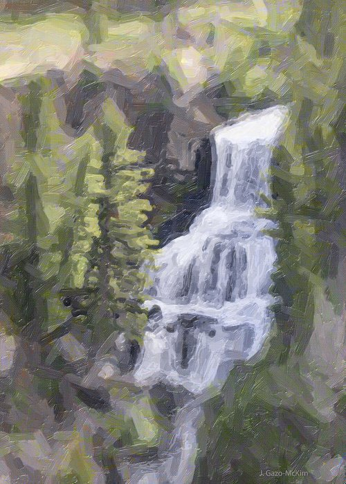 Falls Greeting Card featuring the digital art Misty Falls by Jo-Anne Gazo-McKim