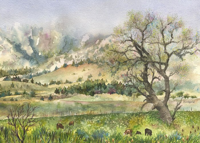 Flatirons Painting Greeting Card featuring the painting Misty Flatirons by Anne Gifford