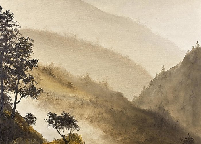 Landscape Greeting Card featuring the painting Misty Hills by Darice Machel McGuire