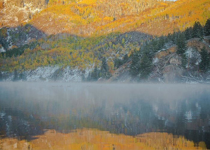 Tree Greeting Card featuring the photograph Misty Lake With Aspen Trees by Matthewbe Photography