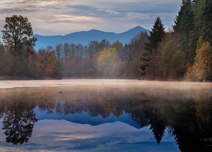 Borst Lake Greeting Card featuring the photograph Misty Morning by Manju Shekhar