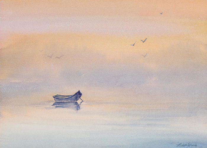 Boat Greeting Card featuring the painting Misty Morning Peace Watercolor Painting by Michelle Wiarda