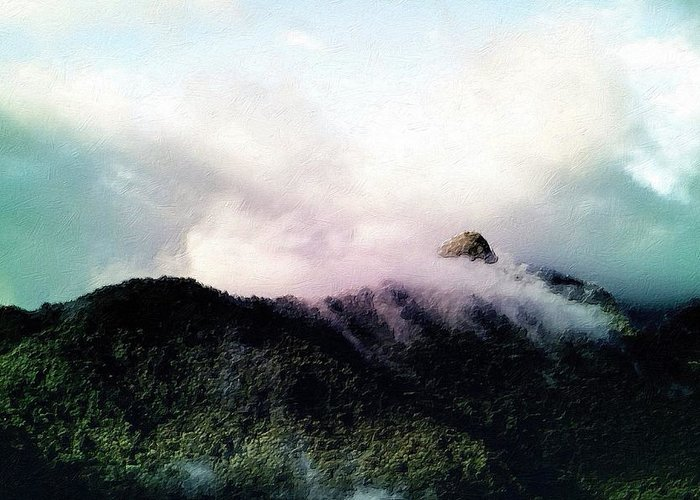Misty Greeting Card featuring the painting Misty Mountains by Florian Rodarte