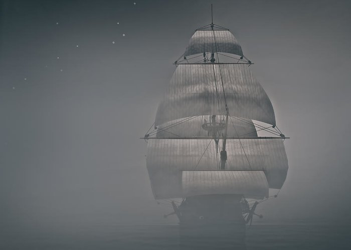 Boat In The Fog Greeting Card featuring the photograph Misty Sail by Lourry Legarde