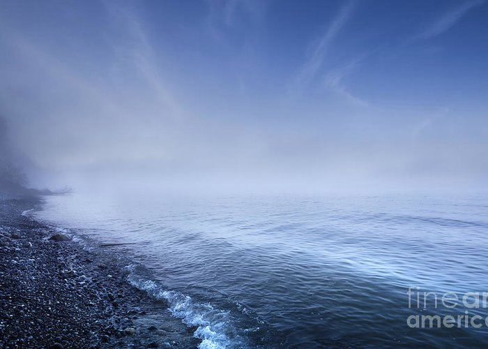 Denmark Greeting Card featuring the photograph Misty Seaside In The Evening, Mons by Evgeny Kuklev