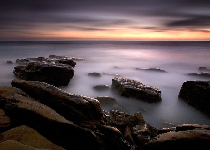 Beach Greeting Card featuring the photograph Misty Water by Peter Tellone