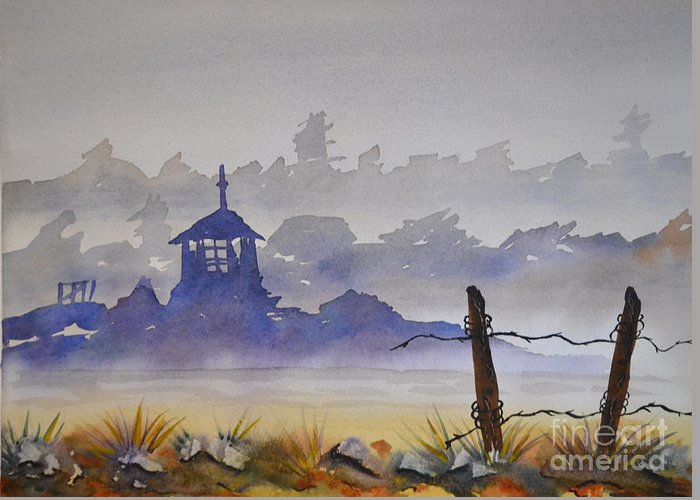 Lighthouse Greeting Card featuring the painting Misty Watercolors by Cecilia Stevens