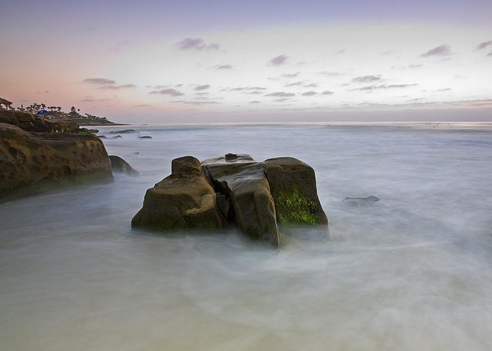 La Jolla Greeting Card featuring the photograph Misty Waters by Peter Tellone
