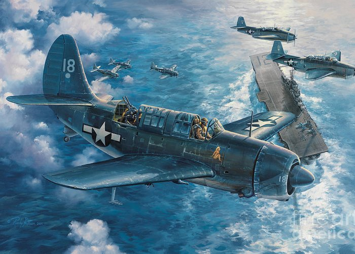 Aviation Art Greeting Card featuring the painting Mitscher's Hunt For The Rising Sun by Randy Green