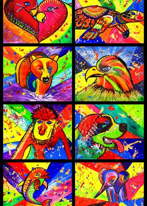 Mix Pop Art Greeting Card featuring the painting Mix Animal Pop Art by Julia Fine Art And Photography
