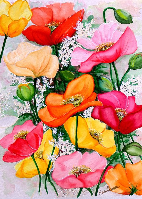Poppies Greeting Card featuring the painting Mixed Poppies by Karin Dawn Kelshall- Best