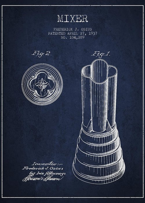 Blender Greeting Card featuring the digital art Mixer Patent From 1937 - Navy Blue by Aged Pixel