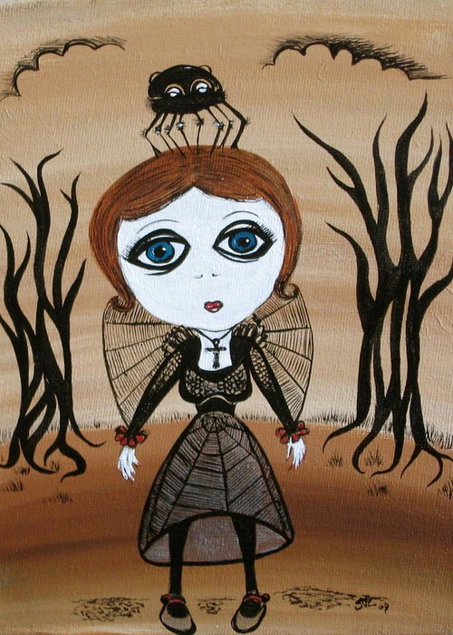 Gothic Greeting Card featuring the painting Miz Goth by Sue Wright