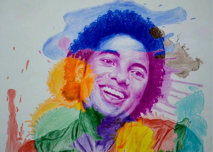 Michael Jackson Greeting Card featuring the drawing Mj Color Splatter by Sruthi Murali