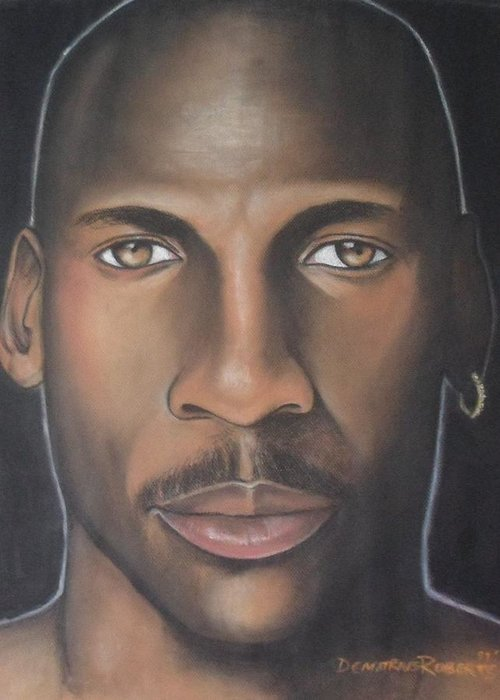 Michael Jordan Greeting Card featuring the painting Mj23 by Demitrius Roberts