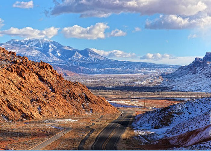 Utah Panorama Greeting Card featuring the photograph Moab Fault Medium Panorama by Adam Jewell