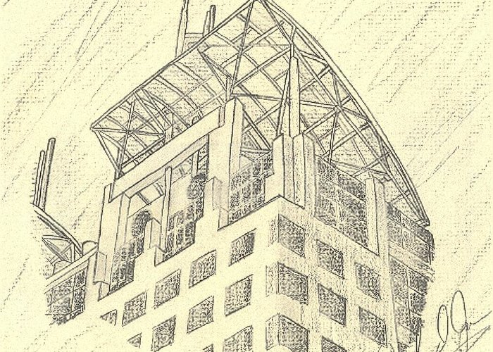 Buildings Greeting Card featuring the drawing Mobile Courthouse by John Jones