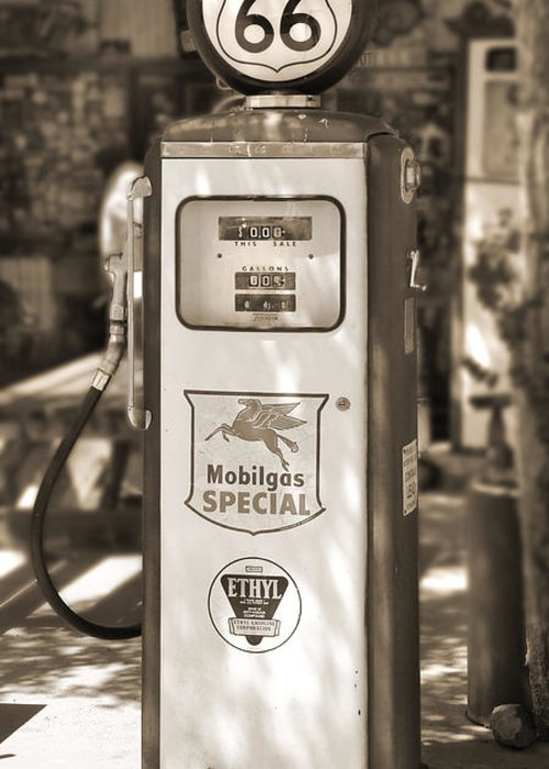 Route 66 Greeting Card featuring the photograph Mobilgas Special - Tokheim Pump - Sepia by Mike McGlothlen