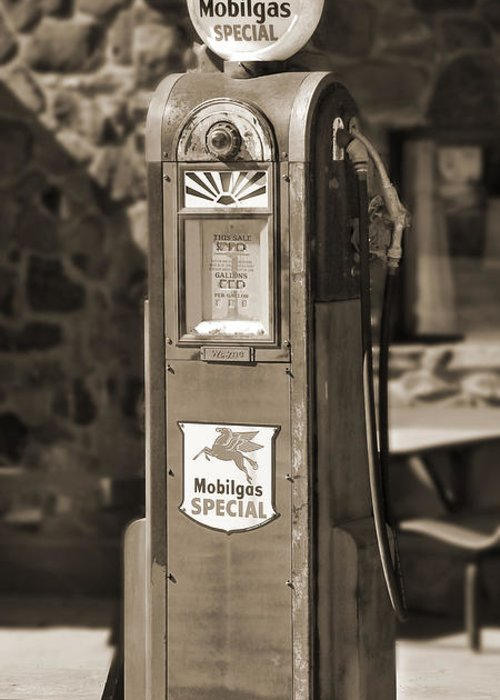 Mobilgas Greeting Card featuring the photograph Mobilgas Special - Wayne Pump - Sepia by Mike McGlothlen