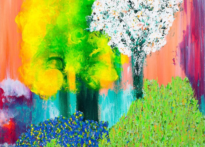 Landscape Greeting Card featuring the painting Mobo by Mimi Sabates