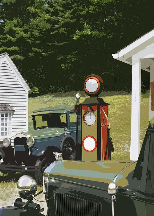 Model A Ford Greeting Card featuring the photograph Model A Ford And Old Gas Station Illustration by Keith Webber Jr