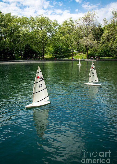 Central Park Greeting Card featuring the photograph Model Boats On Conservatory Water Central Park by Amy Cicconi