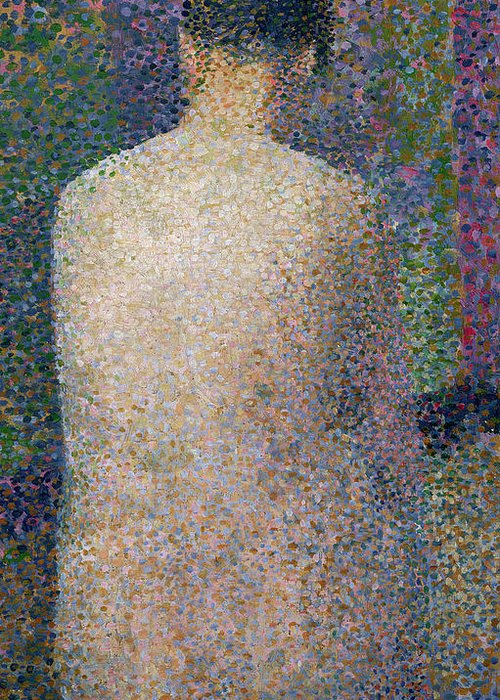 Pointillist Greeting Card featuring the painting Model From The Back by Georges Pierre Seurat