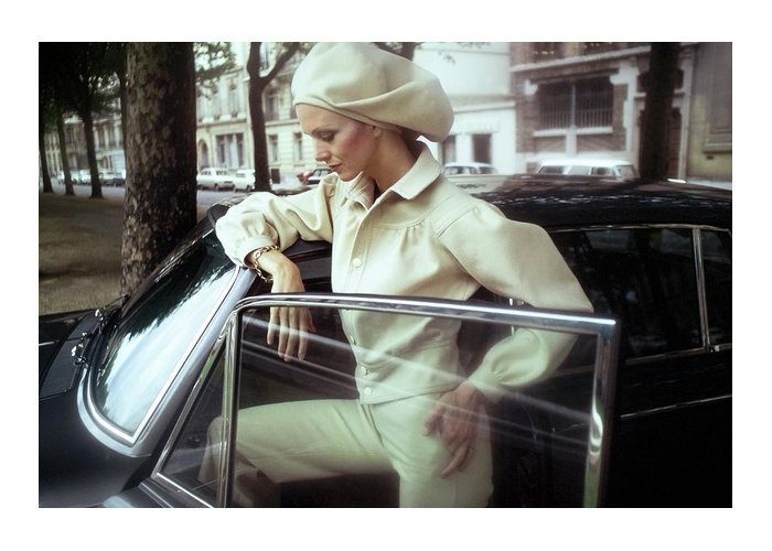 Fashion Greeting Card featuring the photograph Model Wearing A White Kenzo Ensemble by Arnaud de Rosnay