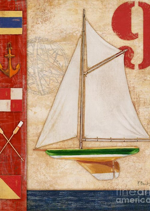 Red Greeting Card featuring the painting Model Yacht Collage I by Paul Brent