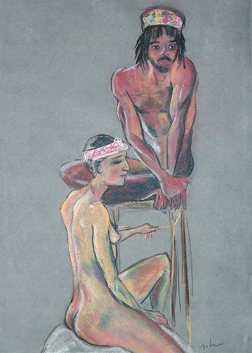 Nude Drawing Greeting Card featuring the pastel Models 2 by Asha Carolyn Young
