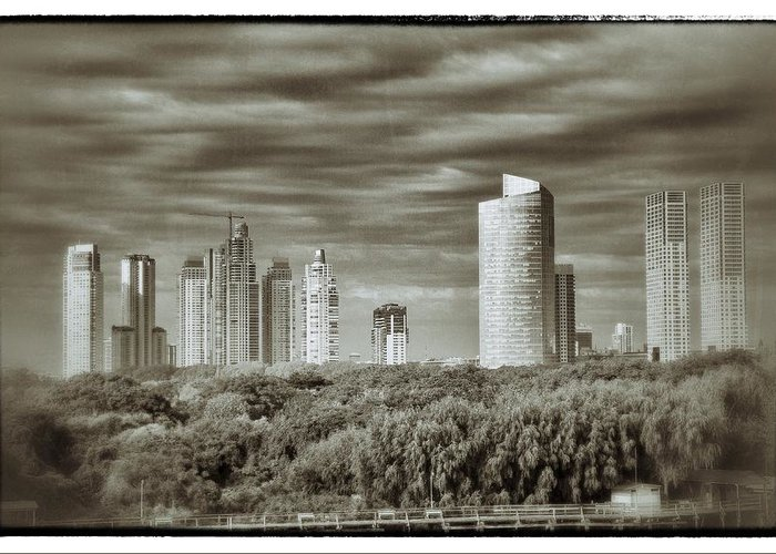 Buenos Aires Greeting Card featuring the relief Modern Buenos Aires Black And White by For Ninety One Days