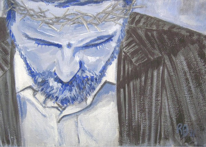 Jesus Greeting Card featuring the painting Modern Passion by Robie Benve