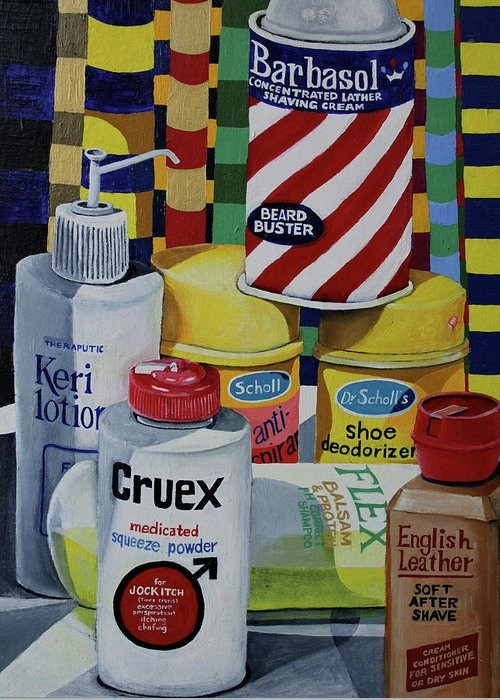 Shaving Cream Greeting Card featuring the painting Modern Still Life by Don Martinelli