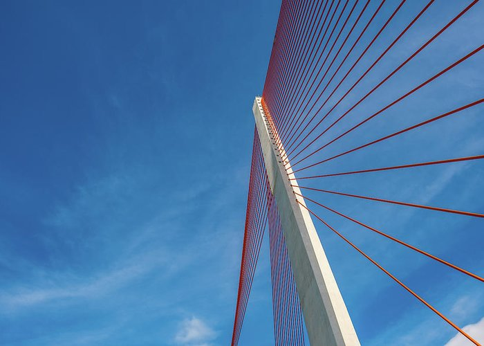 Hanging Greeting Card featuring the photograph Modern Suspension Bridge by Phung Huynh Vu Qui
