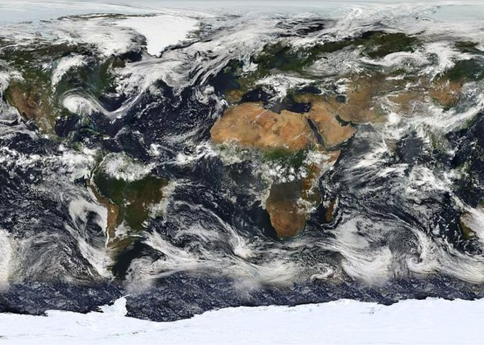Modis Greeting Card featuring the photograph Modis World Map by Tilen Hrovatic