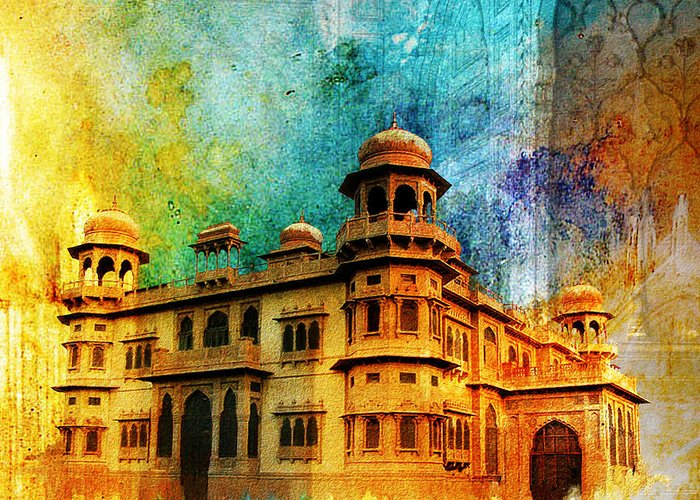 Pakistan Greeting Card featuring the painting Mohatta Palace by Catf
