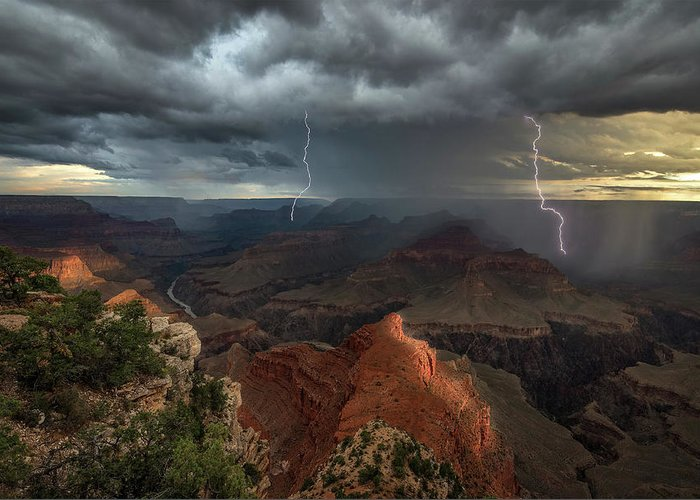 Lightning Greeting Card featuring the photograph Mohave Point Thunderstorm by John W Dodson