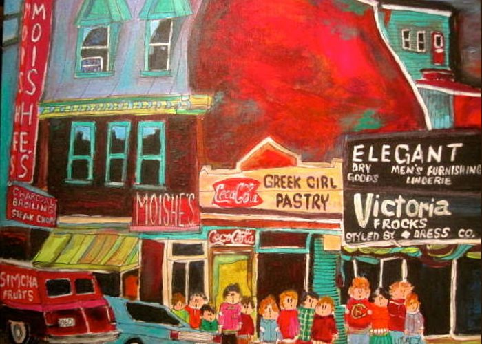 Moishe's Steak House Greeting Card featuring the painting Moishe's Steak House 1960's Montreal Memories by Michael Litvack