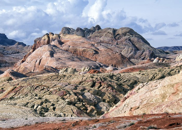 Valley Of Fire Greeting Card featuring the photograph Mojave Desert View - Valley Of Fire by Debby Richards